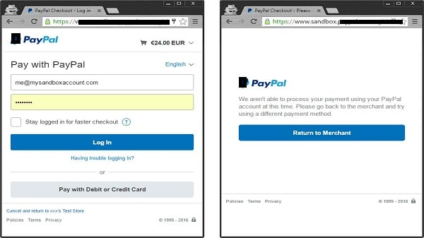 PayPal cannot process payment